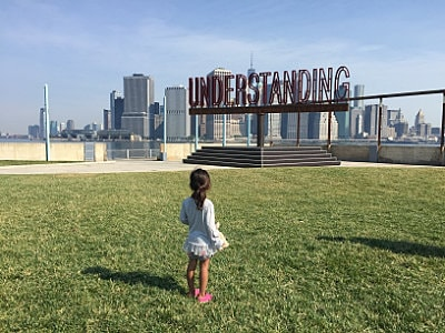 Understanding sculpture with New York skyline